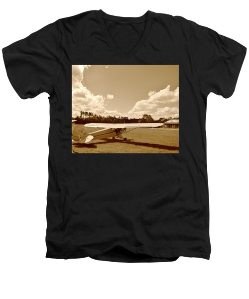 Men's V-Neck T-Shirt featuring the photograph At The Airfield by Jean Goodwin Brooks