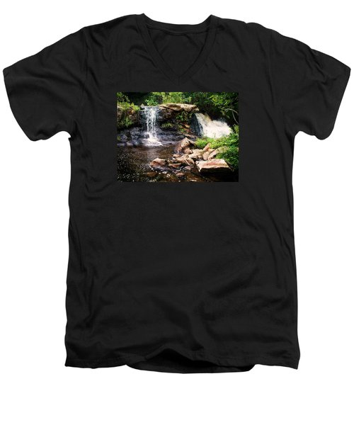 At The Mill Pond Dam Men's V-Neck T-Shirt by Joy Nichols