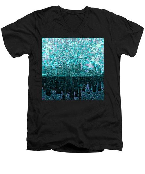 Atlanta Skyline Abstract 2 Men's V-Neck T-Shirt by Bekim Art