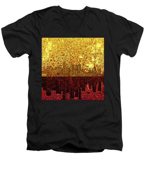 Atlanta Skyline Abstract 3 Men's V-Neck T-Shirt by Bekim Art
