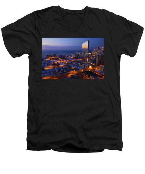 Atlantic City At Dawn Men's V-Neck T-Shirt by Joan Reese