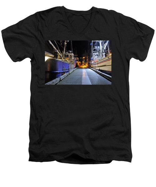 Men's V-Neck T-Shirt featuring the photograph Auke Bay By Night by Cathy Mahnke