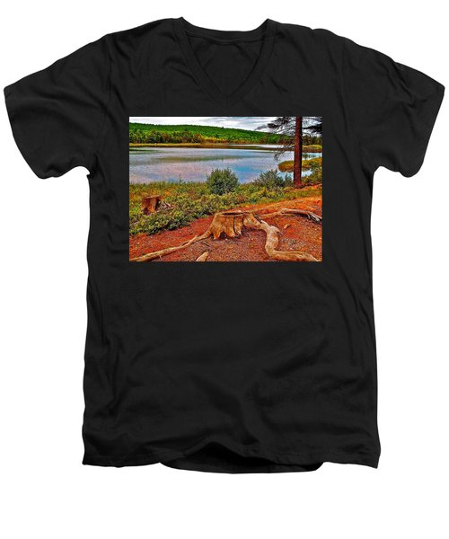 Aunt Betty Pond In Acadia National Park-maine  Men's V-Neck T-Shirt by Ruth Hager