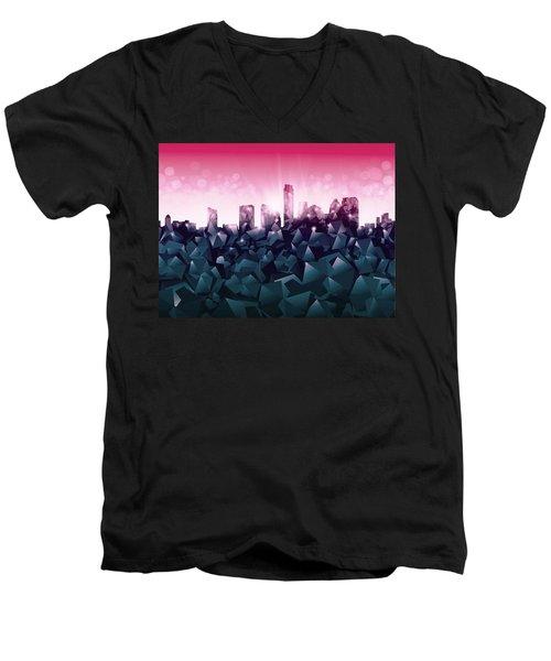 Austin Skyline Geometry 2 Men's V-Neck T-Shirt by Bekim Art