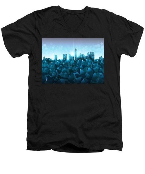 Austin Skyline Geometry 3 Men's V-Neck T-Shirt by Bekim Art