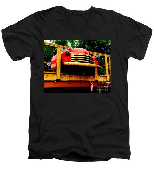 Austin Texas - Maria's Taco Express - Luther Fine Art Men's V-Neck T-Shirt