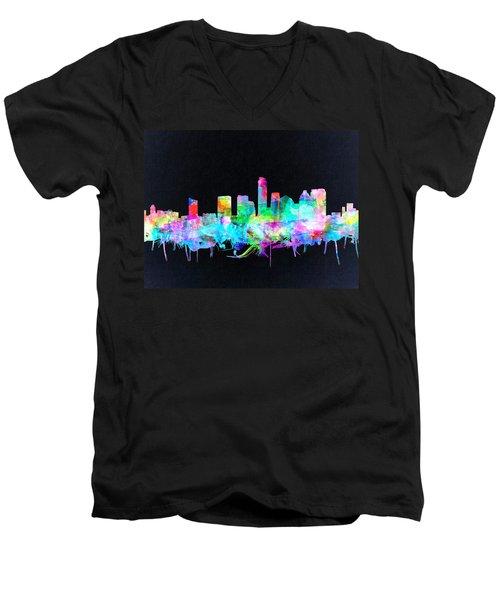 Austin Texas Skyline Watercolor 3 Men's V-Neck T-Shirt