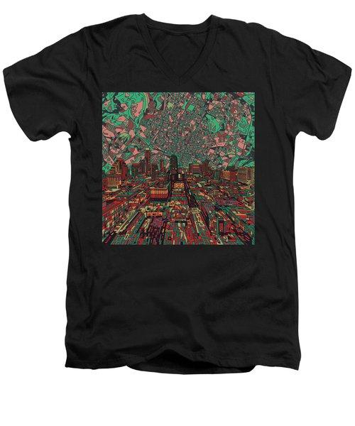 Austin Texas Vintage Panorama 3 Men's V-Neck T-Shirt by Bekim Art