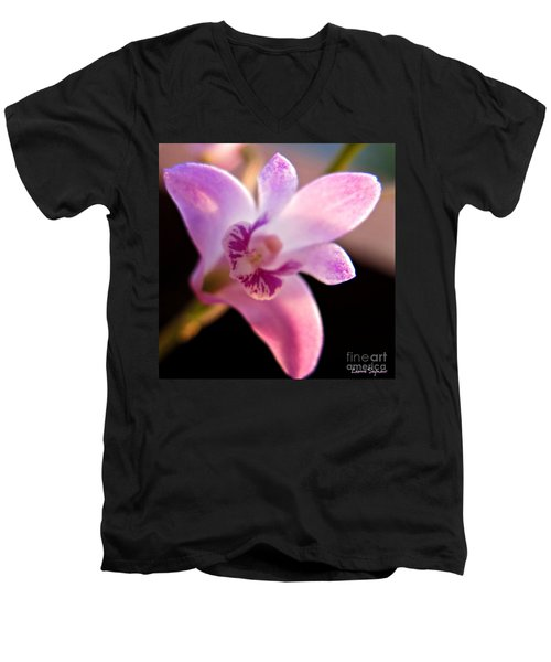 Men's V-Neck T-Shirt featuring the photograph Australian Bush Orchid by Leanne Seymour