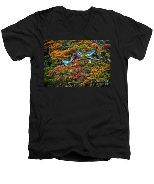 Autum In Japan Men's V-Neck T-Shirt by John Swartz