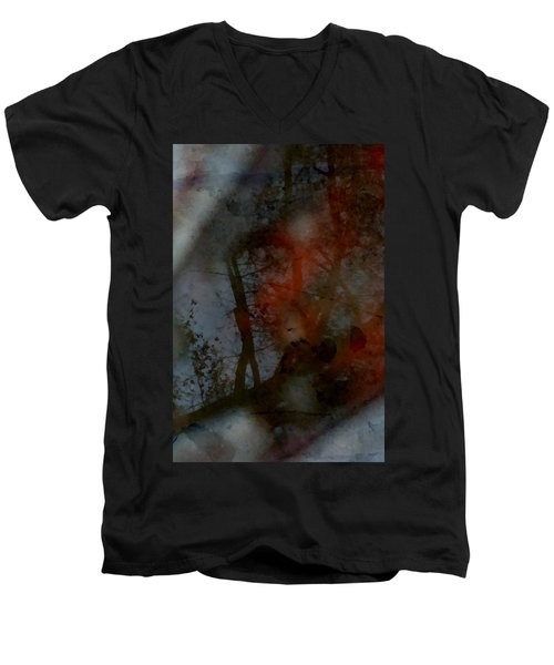 Men's V-Neck T-Shirt featuring the photograph Autumn Abstract by Photographic Arts And Design Studio