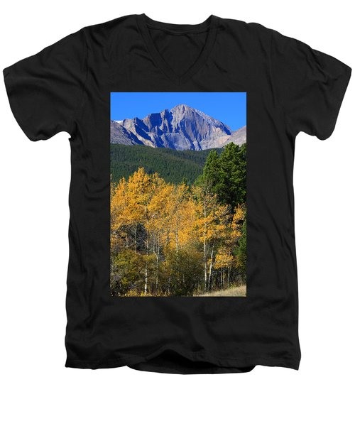 Autumn Aspens And Longs Peak Men's V-Neck T-Shirt