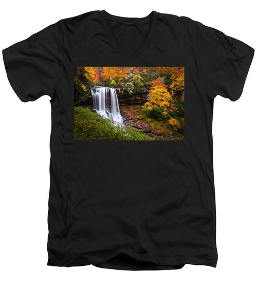Autumn At Dry Falls - Highlands Nc Waterfalls Men's V-Neck T-Shirt