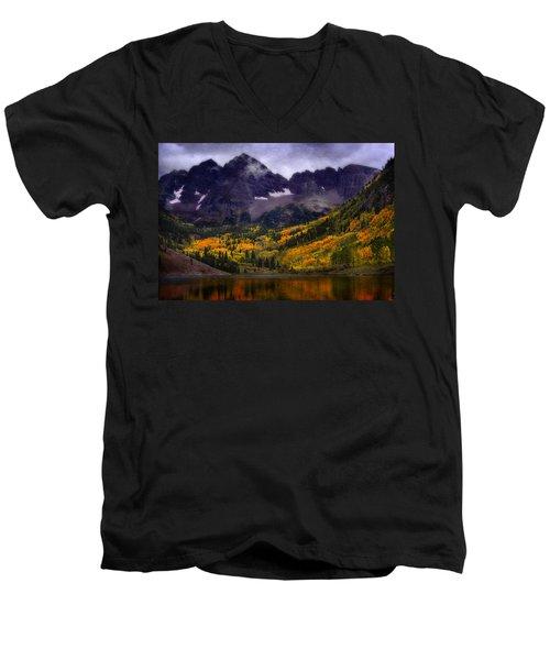 Men's V-Neck T-Shirt featuring the photograph Autumn At Maroon Bells by Ellen Heaverlo