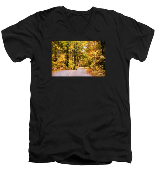 Autumn Colors - Colorful Fall Leaves Wisconsin - II Men's V-Neck T-Shirt by David Perry Lawrence