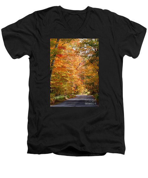 Men's V-Neck T-Shirt featuring the photograph Autumn Colors - Colorful Fall Leaves Wisconsin IIi by David Perry Lawrence