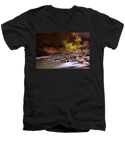 Men's V-Neck T-Shirt featuring the photograph Autumn Cottonwood In The Narrows by Andrew Soundarajan