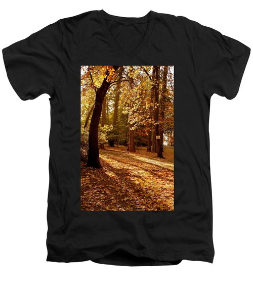 Autumn Country Lane Evening Men's V-Neck T-Shirt by Michele Myers