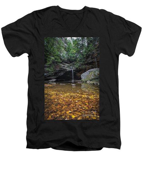 Autumn Falls Men's V-Neck T-Shirt by James Dean
