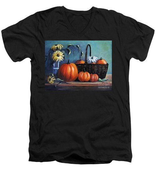 Men's V-Neck T-Shirt featuring the painting Autumn Gifts by Vesna Martinjak