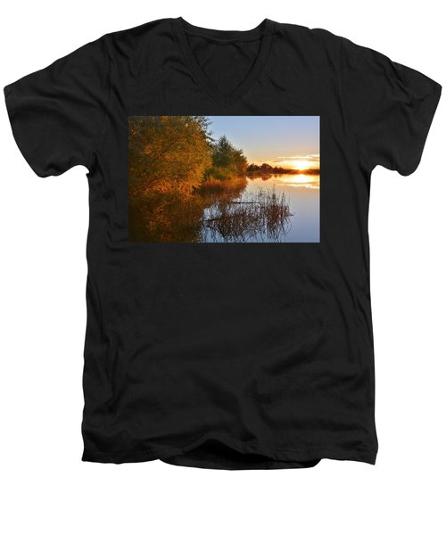 Autumn Glow At The Lake Men's V-Neck T-Shirt