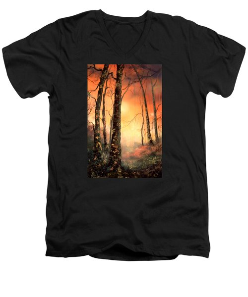 Men's V-Neck T-Shirt featuring the painting Autumn Glow by Jean Walker