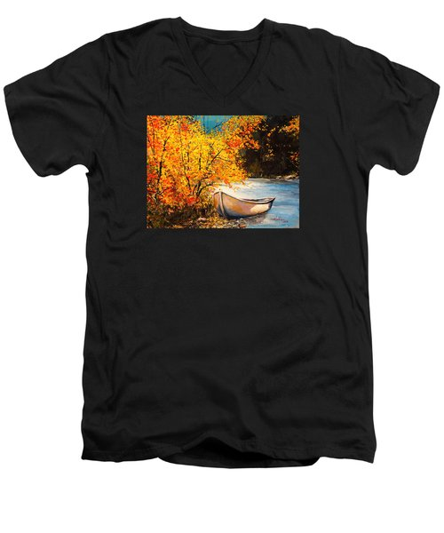 Men's V-Neck T-Shirt featuring the painting Autumn Gold by Alan Lakin