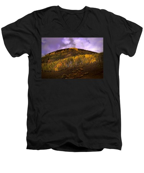 Men's V-Neck T-Shirt featuring the photograph Autumn Hillside by Ellen Heaverlo