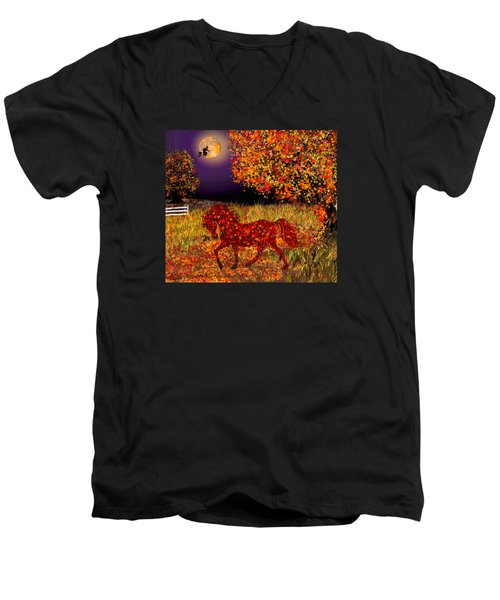 Autumn Horse Bewitched Men's V-Neck T-Shirt by Michele Avanti