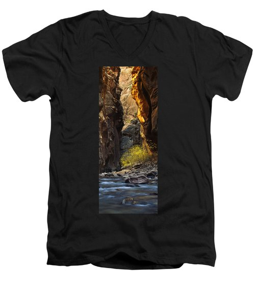 Men's V-Neck T-Shirt featuring the photograph Autumn In The Narrows by Andrew Soundarajan