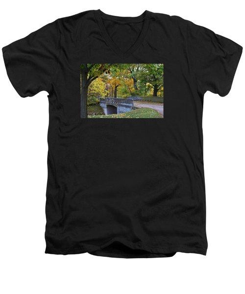 Autumn In The Park Men's V-Neck T-Shirt by Bruce Bley