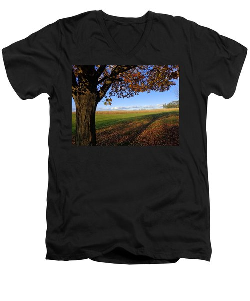 Men's V-Neck T-Shirt featuring the photograph Autumn Landscape by Joseph Skompski