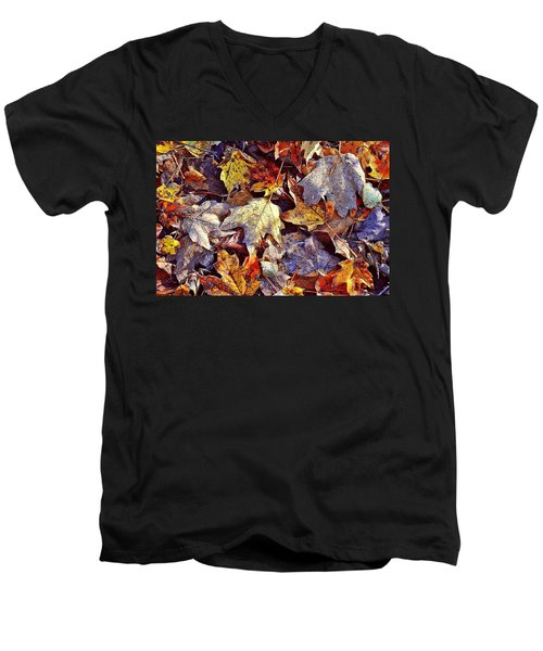 Autumn Leaves With Frost Men's V-Neck T-Shirt