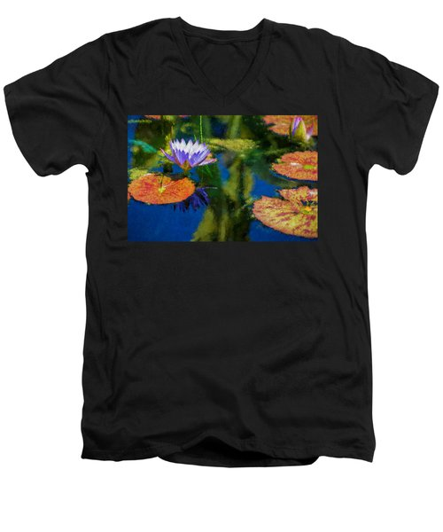 Autumn Lily Pad Impressions Men's V-Neck T-Shirt