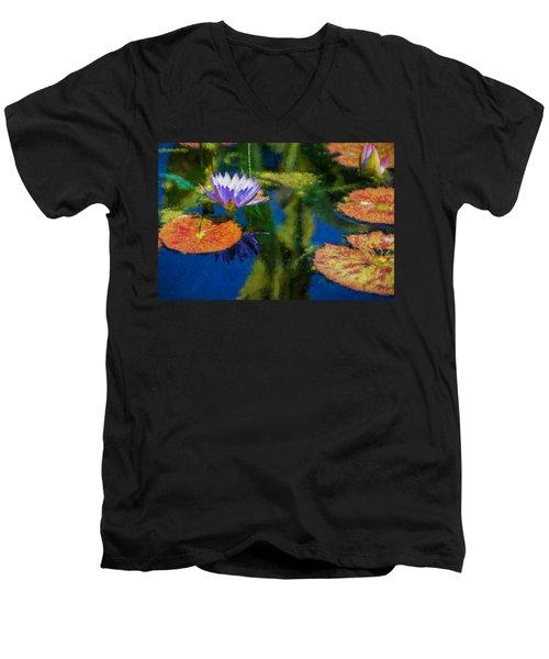 Autumn Lily Pad Impressions Men's V-Neck T-Shirt