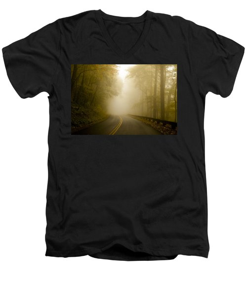 Autumn Mist Blue Ridge Parkway Men's V-Neck T-Shirt
