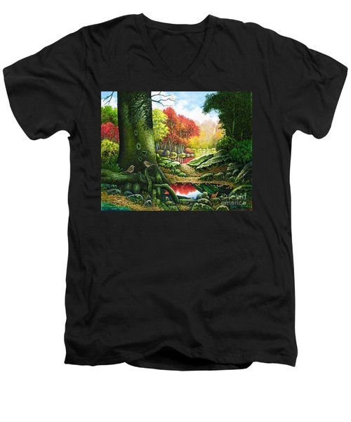 Autumn Morning In The Forest Men's V-Neck T-Shirt