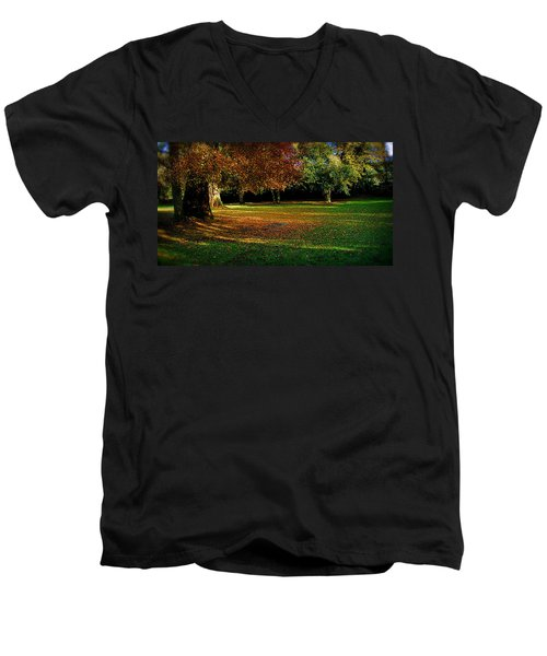 Men's V-Neck T-Shirt featuring the photograph Autumn by Nina Ficur Feenan