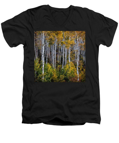 Men's V-Neck T-Shirt featuring the photograph Autumn On Mcclure Pass by Ken Smith