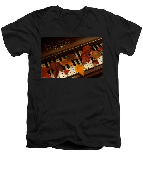 Autumn Piano 14 Men's V-Neck T-Shirt by Mick Anderson