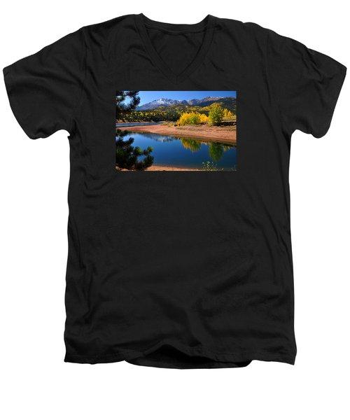 Autumn Reflections At Crystal Men's V-Neck T-Shirt by John Hoffman