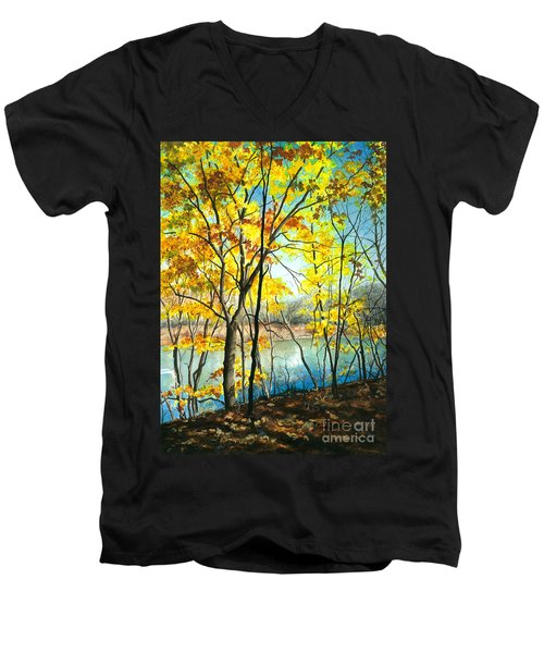 Autumn River Walk Men's V-Neck T-Shirt