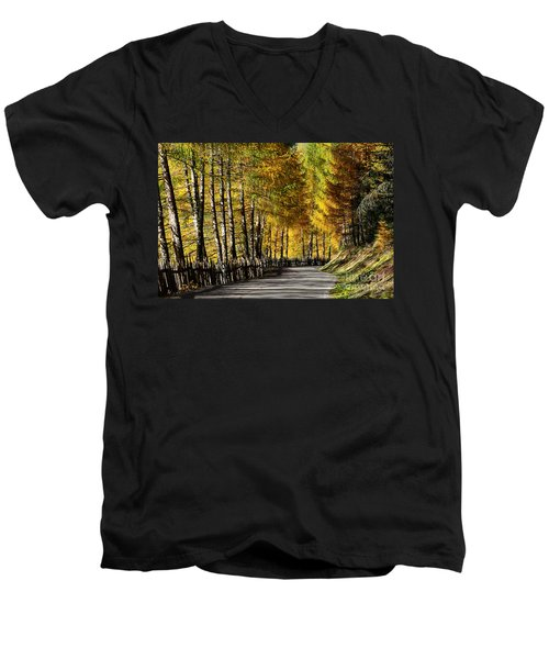 Winding Road Through The Autumn Trees Men's V-Neck T-Shirt