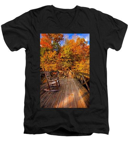 Autumn Rocking On Wooden Bridge Landscape Print Men's V-Neck T-Shirt by Jerry Cowart
