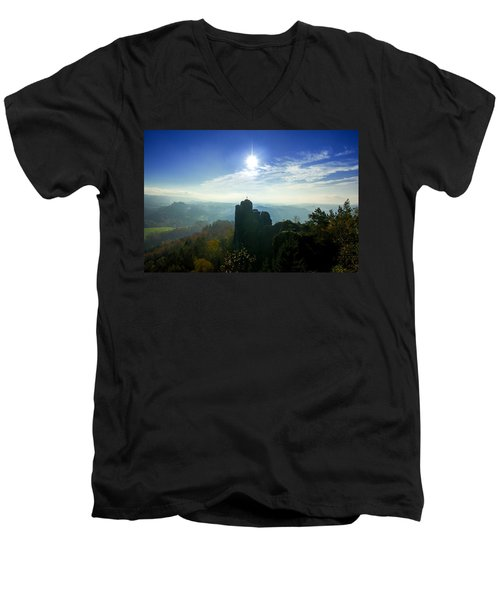 Autumn Sunrise In The Elbe Sandstone Mountains Men's V-Neck T-Shirt