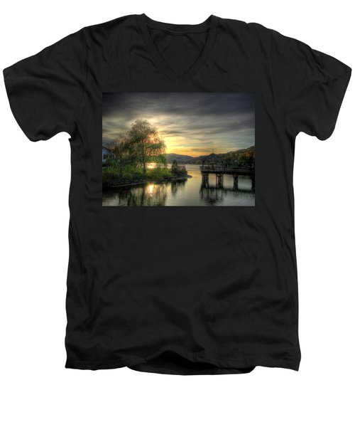 Men's V-Neck T-Shirt featuring the photograph Autumn Sunset by Nicola Nobile