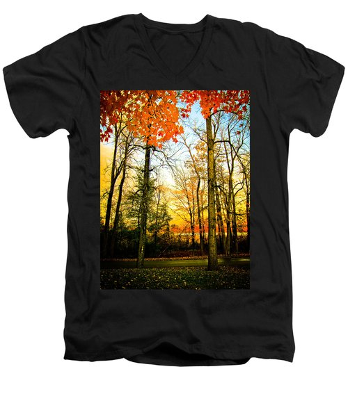 Men's V-Neck T-Shirt featuring the photograph Autumn Sunset  by Sara Frank