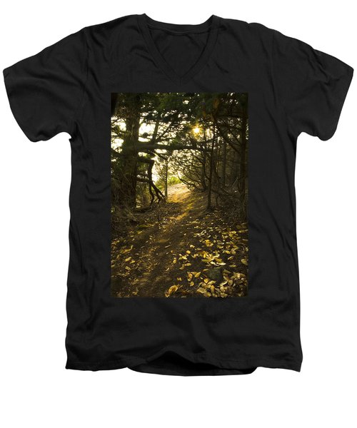 Men's V-Neck T-Shirt featuring the photograph Autumn Trail In Woods by Yulia Kazansky