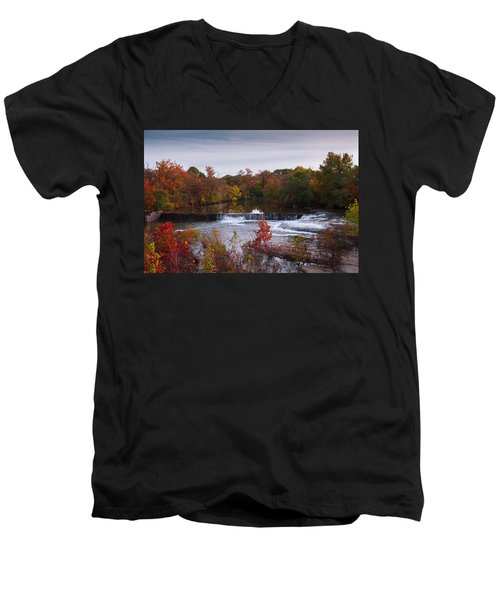 Men's V-Neck T-Shirt featuring the photograph Refreshing Waterfalls Autumn Trees On The Stones River Tennessee by Jerry Cowart