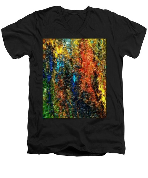 Men's V-Neck T-Shirt featuring the digital art Autumn Visions Remembered by David Lane